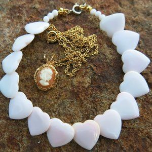 Shell Hearts Bracelet and Cameo Necklace BUNDLE
